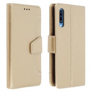 Klapphülle mit Geldbörse & Standfunktion für Samsung Galaxy A70 - Gold
