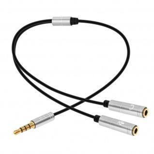 Splitter Adapter Audio Jack 3.5mm auf Mikro und Kopfhörer 30cm - Silber