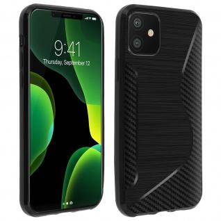 Backcover Apple iPhone 11 S-Line Silikonhülle, Carbon Optik - Schwarz