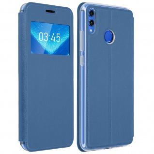 Honor 8X Flip Cover Sichtfenster & Kartenfach, mit Gelhülle - Blau