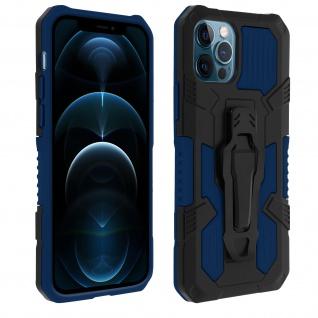 Stoßfeste Handyhülle iPhone 12 / 12 Pro, mit Gürtelclip und Ständer ? Dunkelblau