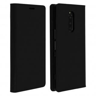 Business Leder Cover, Schutzhülle mit Geldbörse für Sony Xperia 1 - Schwarz
