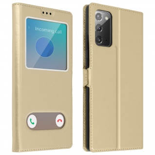 Samsung Galaxy Note 20 Flip Cover Doppelfenster & Standfunktion ? Gold