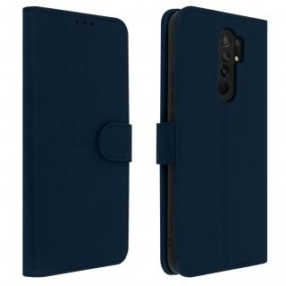 Flip Cover Geldbörse, Klappetui Kunstleder für Xiaomi Redmi 9 ? Blau