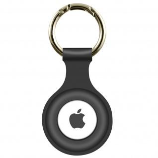 AirTag Soft Touch Schlüsselanhänger aus Silikon, mit Metallring ? Dunkelgrau