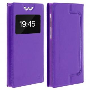 Universal Klappetui, Hülle mit Sichtfenster für Smartphones Größe M - Violett