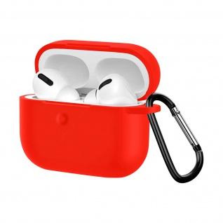 Apple AirPods Pro weiche Silikon Schutzhülle mit Karabinerhaken - Rot