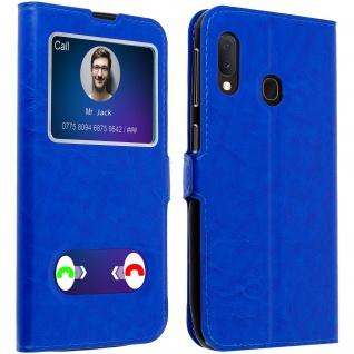 Samsung Galaxy A20e Flip Cover Doppelfenster & Standfunktion � Blau
