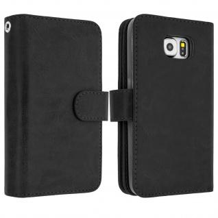 Flip-Cover Case im Brieftaschenstil für Samsung Galaxy S6 Edge - Schwarz