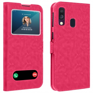 Samsung Galaxy A40 Flip Cover Doppelfenster & Standfunktion - Rosa