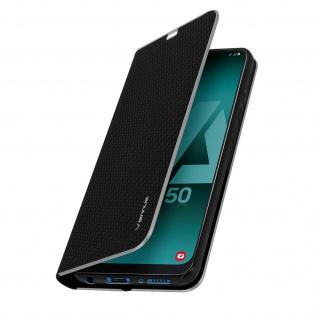 Samsung Galaxy A50 / A30s Klappetui, Cover mit Carbon Design & Ständer ? Schwarz - Vorschau 2