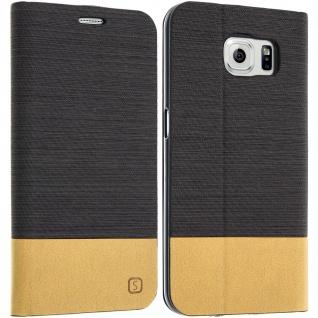 Samsung Galaxy S6 Flip-Cover Brieftaschenstil Kartenfach - Denim Braun - Vorschau 1
