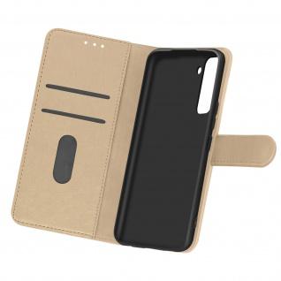 Flip Cover Geldbörse, Etui Kunstleder für Samsung Galaxy S21 Plus - Gold