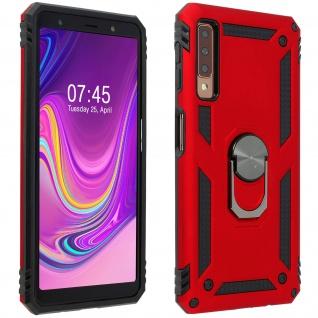 Hybrid Handyhülle mit Ring Halterung für Samsung Galaxy A7 2018 - Rot