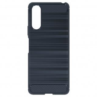 Sony Xperia 10 II Schutzhülle mit Aluminium und Carbon Design ? Dunkelblau