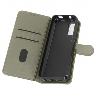 Flip Cover Geldbörse, Etui Kunstleder für Xiaomi Redmi Note 10 ? Grau