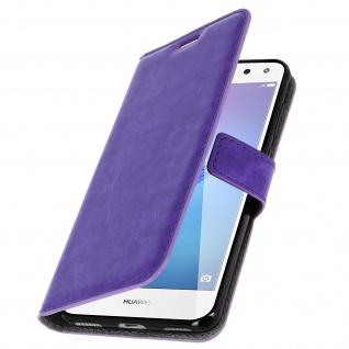Flip-Cover Stand Case Brieftasche & Standfunktion für Huawei Y6 2017 - Violett