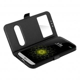 Ultradünne Doppel-Fenster Flip-Schutzhülle für LG G5 - Schwarz