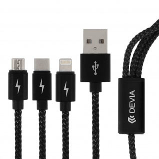 USB-Kabel 3-in-1 Micro-USB/Lightning/USB-C 2 A Nylon-Umflechtung Devia - Schwarz - Vorschau 2