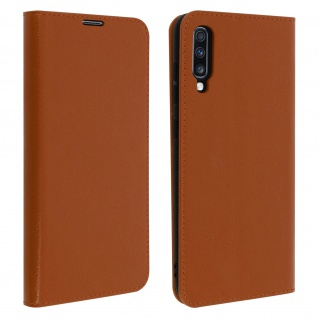 Business Leder Cover, Schutzhülle mit Geldbörse Samsung Galaxy A70 - Hellbraun