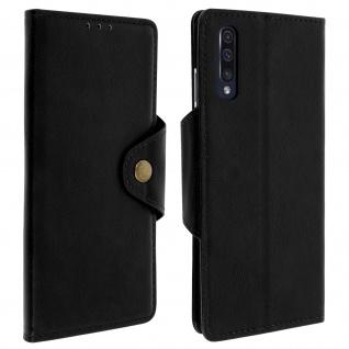 Sixties Style Klappetui, Hülle mit Geldbörse für Samsung Galaxy A50 - Schwarz
