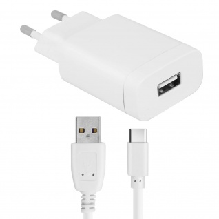Forcell Wand Ladegerät für Smartphones und Tablets 2.4A USB-Typ C Kabel inkl-.
