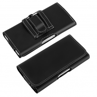 Gürteltasche mit Gürtelclip und Schlaufe für Smartphones Größe XXL - Schwarz