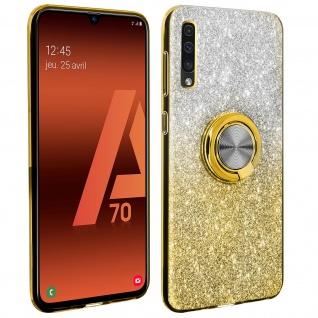 Glitter Silikonhülle mit Ring Halterung für Samsung Galaxy A70 - Gelb