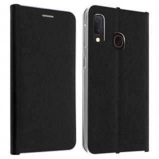 Samsung Galaxy A20e Flip Cover mit Kartenschlitz & Standfunktion - Schwarz