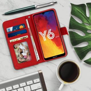 Huawei Y6 2019 Flip-Cover mit Kartenfächern & Standfunktion ? Rot - Vorschau 3