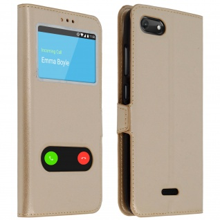 Wiko Harry 2 Flip Cover mit Doppelfenster & Standfunktion - Gold