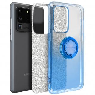 Glitter Silikonhülle mit Ring Halterung für Samsung Galaxy S20 Ultra - Blau
