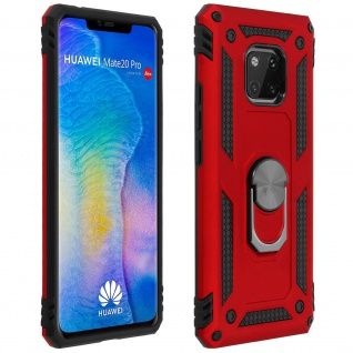 Hybrid Handyhülle mit Ring Halterung für Huawei Mate 20 Pro - Rot