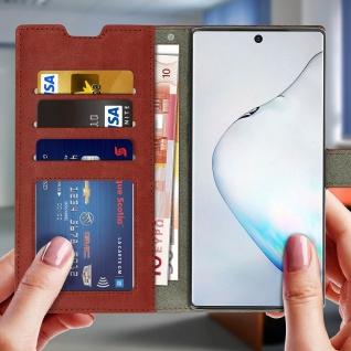 Flip Cover Stand Case Brieftasche & Standfunktion für Galaxy Note 10 - Braun - Vorschau 3
