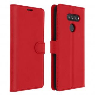 Kunstlederetui, Handyhülle mit Geldbörse für LG K50s - Rot