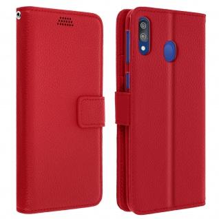 Samsung Galaxy M20 Flip-Cover mit Kartenfächern & Standfunktion - Rot