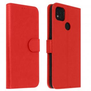 Flip Cover Geldbörse, Klappetui Kunstleder für Xiaomi Redmi 9C ? Rot