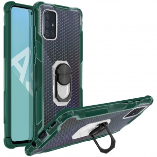 Hybrid Handyhülle mit Ring Halterung für Galaxy A51 - Grün - Vorschau 2