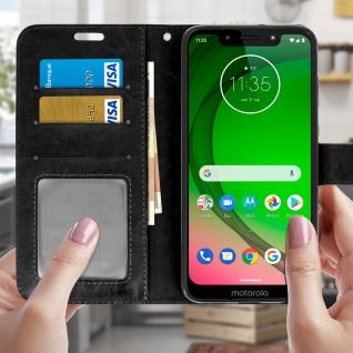 Flip Stand Cover Brieftasche & Standfunktion für Moto G7, Moto G7 Plus - Schwarz - Vorschau 3