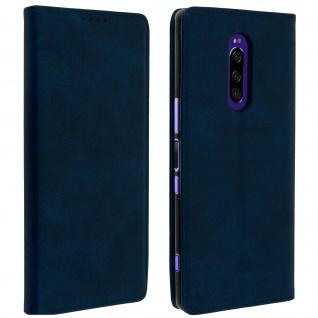 Flip Cover Geldbörse, Kunstleder Klappetui für Sony Xperia 1 - Dunkeblau