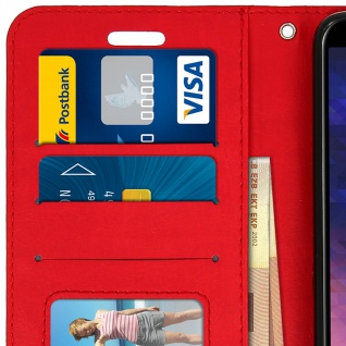 Flip Cover Stand Case Brieftasche & Standfunktion Samsung Galaxy A6 - Rot 5