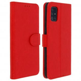 Flip Cover Geldbörse, Klappetui Kunstleder für Samsung Galaxy A51 ? Rot