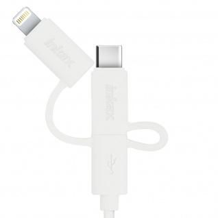Inkax USB Ladekabel Micro-USB + iPhone/iPad/USB Typ-C Stecker - Länge 1M - Weiß - Vorschau 3