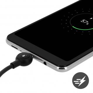 Micro-USB / USB Nylon Kabel, Lade- & Synchronisationskabel, 2A - Schwarz - Vorschau 4