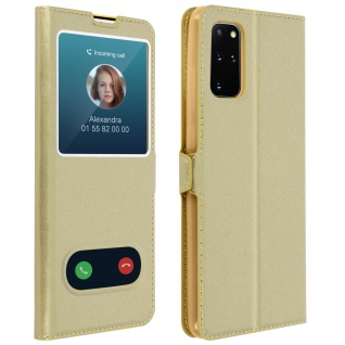 Samsung Galaxy S20 Plus Flip Cover Doppelfenster & Standfunktion - Gold