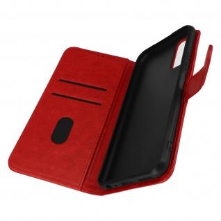 Flip Cover Geldbörse, Etui Kunstleder mit Standfunktion für Vivo Y20s ? Rot