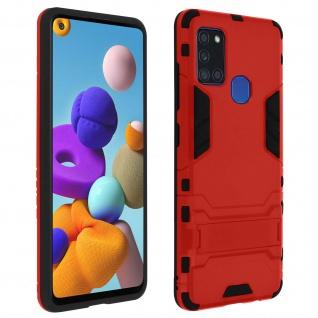 Samsung Galaxy A21s stoßfeste Hybrid Hülle + Ständer - Rot