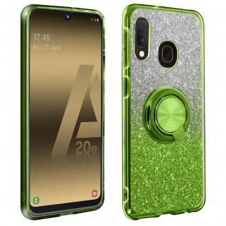 Glitter Silikonhülle mit Ring Halterung für Samsung Galaxy A20e - Grün