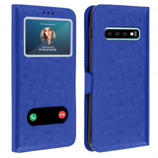 Samsung Galaxy S10 Plus Flip Cover Doppelfenster & Standfunktion - Blau
