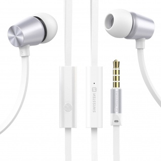 Swissten Metal Dynamic Series 3.5mm Klinkenstecker Ohrhörer mit Kabel - Weiß